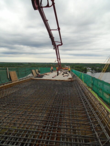 View north from the concrete pump truck