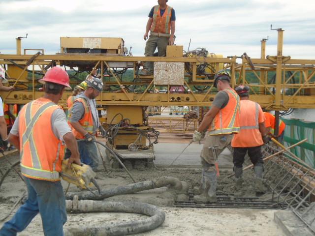 Moving the concrete hose