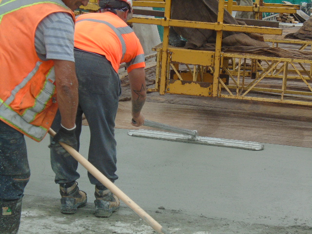 Finishing the new concrete