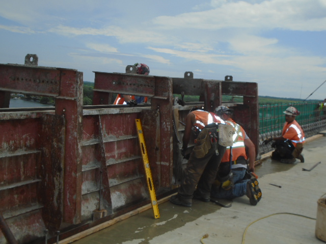Installing the barrier wall form work