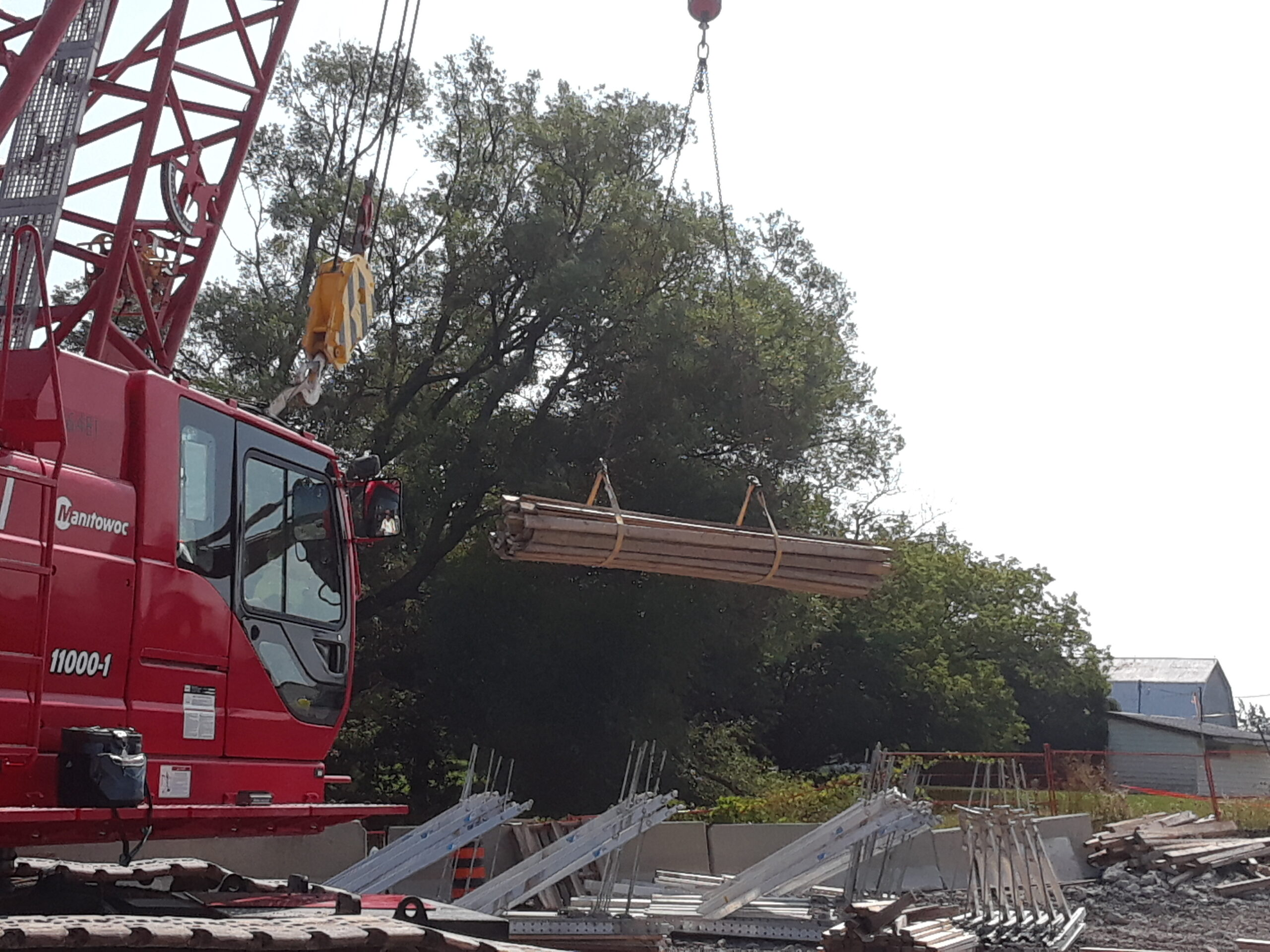 Work platform pieces being removed from the barge