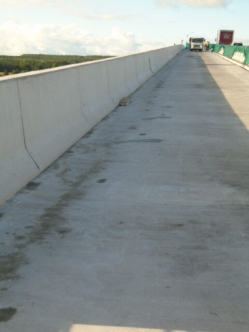 Completed barrier wall and concrete deck