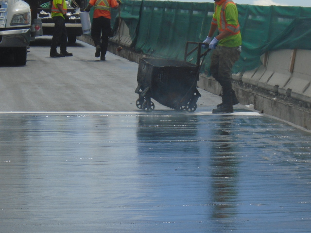 Waterproofing membrane for protection board placement