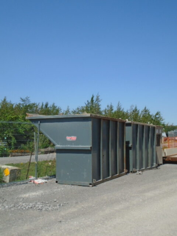Containment bins delivered in preparation for demolition