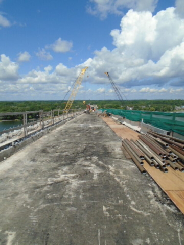 Looking north down the deck during barrier wall removal