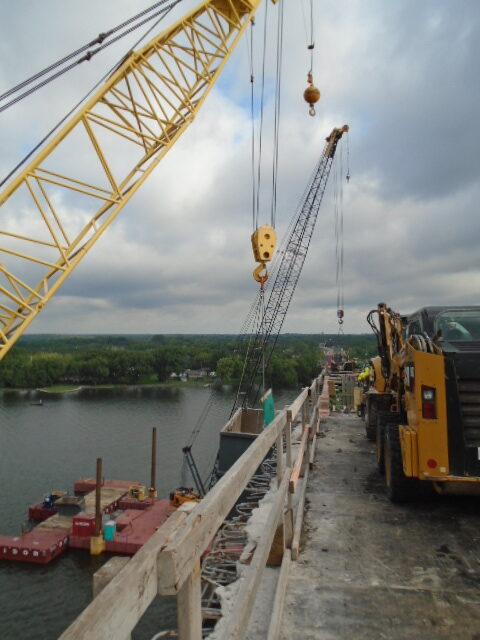 View north, both cranes