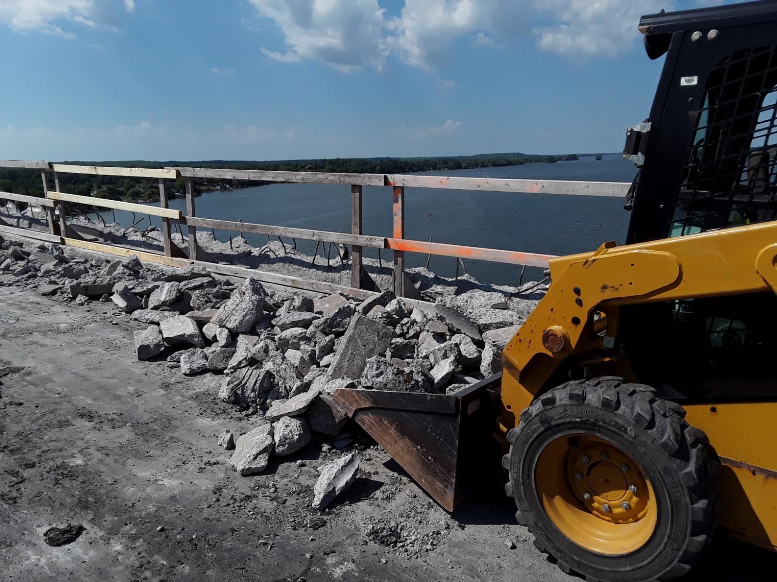 Removing concrete rubble