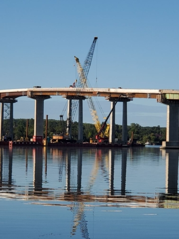 West view of the bridge during demolition