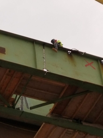 """First cuts for stage """"B"""" girder removals"""