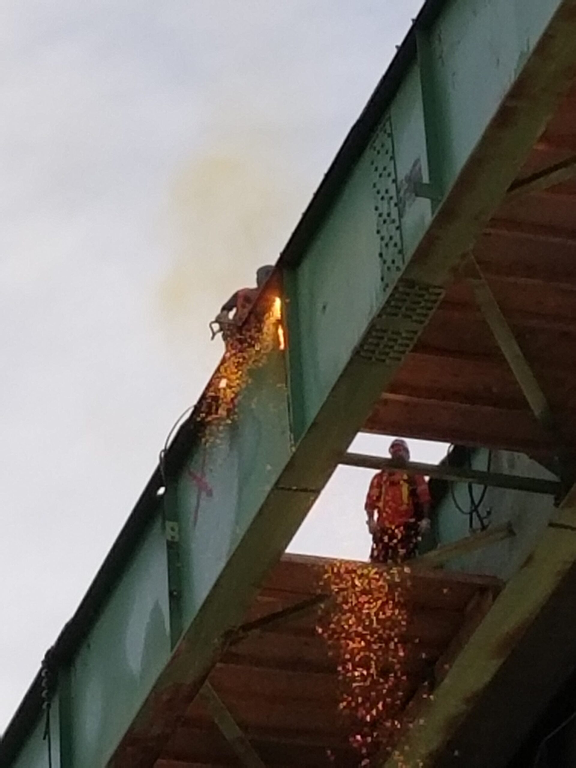 Close-up of approach girder being cut for removal