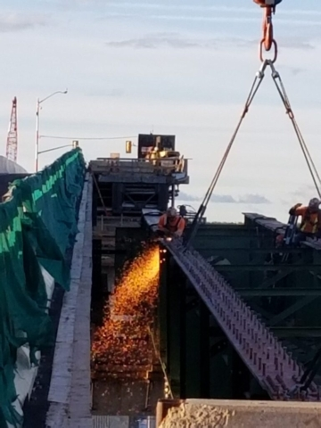 Top view o the approach girder being cut from the haunch girder