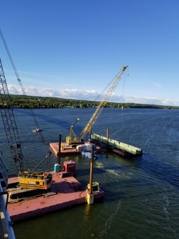 Second haunch girder being removed from the pier cap