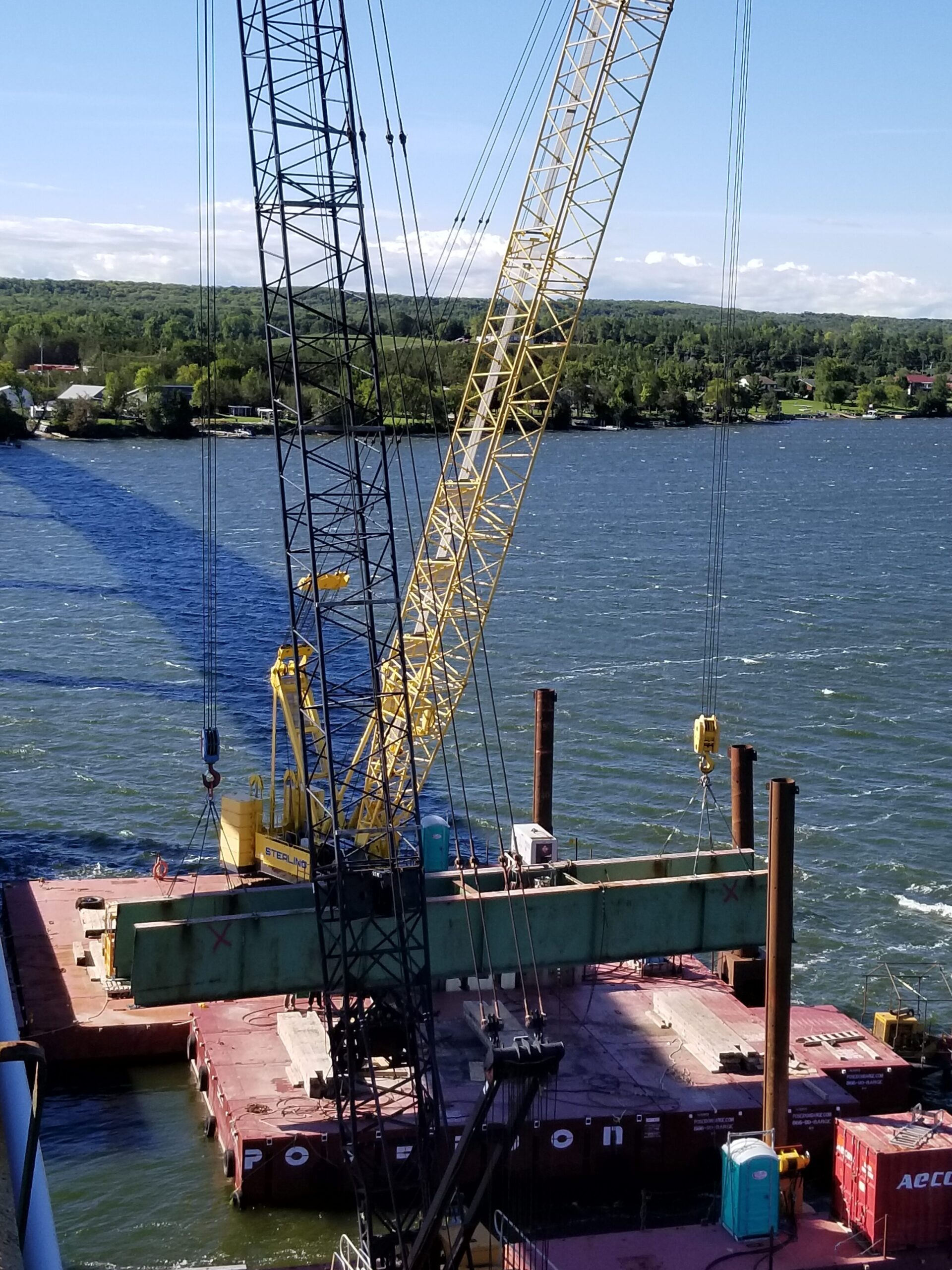 Lowering the second haunch girder onto the barge