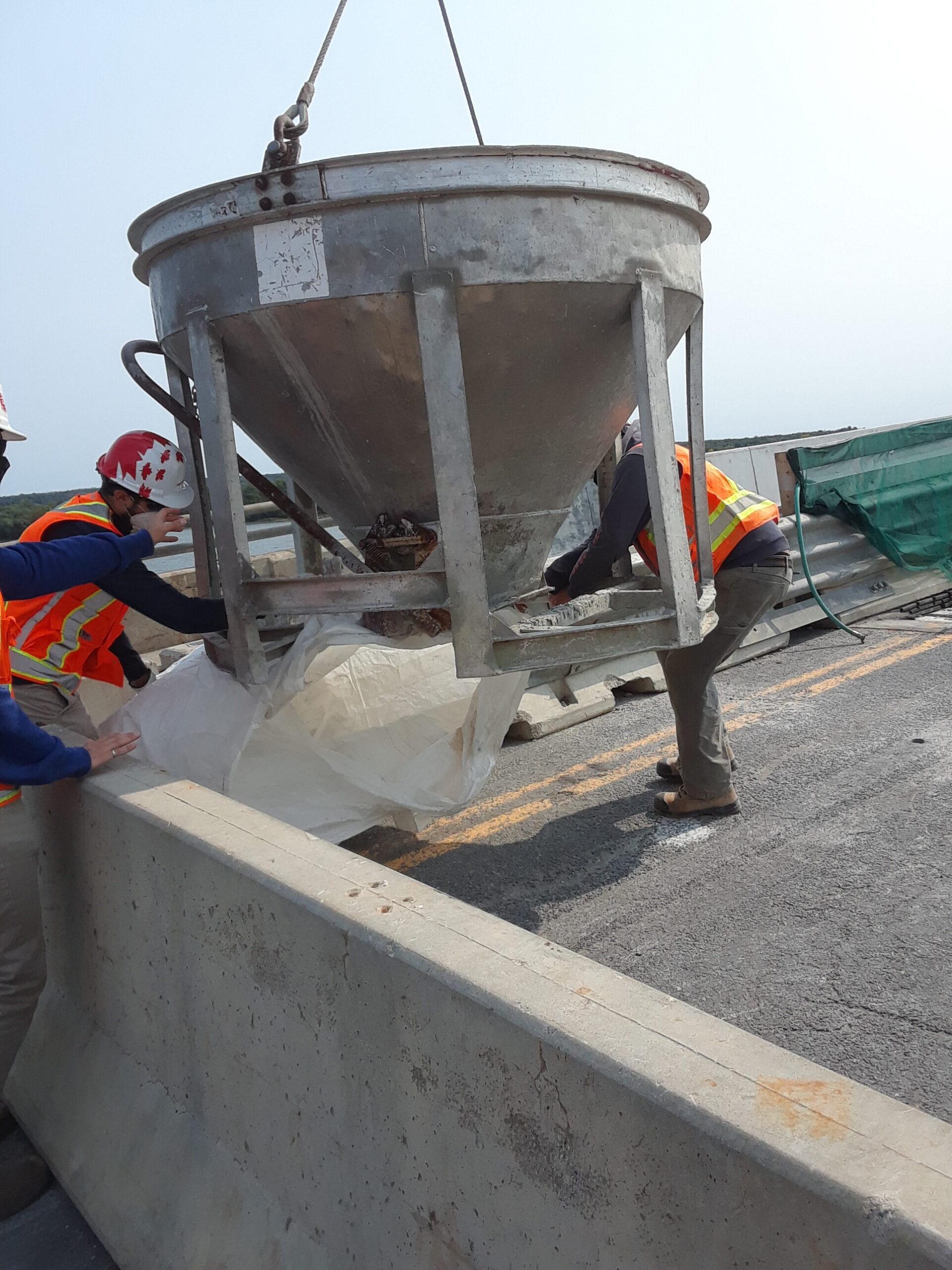 Preparing the concrete hopper for concrete placement