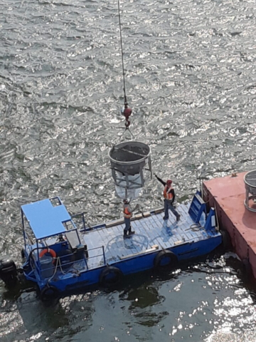 Lowering the concrete hopper to the boat for removal to the project site