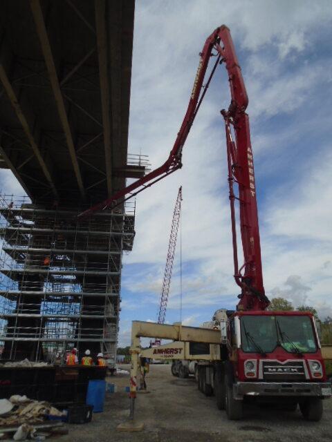 Concrete pump truck preparing for concrete placement on pier 14