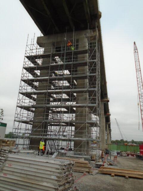 Pier 13 scaffolding near completion