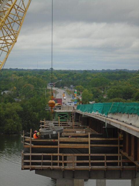 Concrete placement on pier cap 7