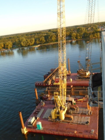 Top view of both crane barges and the first girders ready to be installed