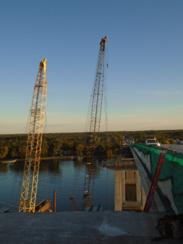 View north before girder lifts