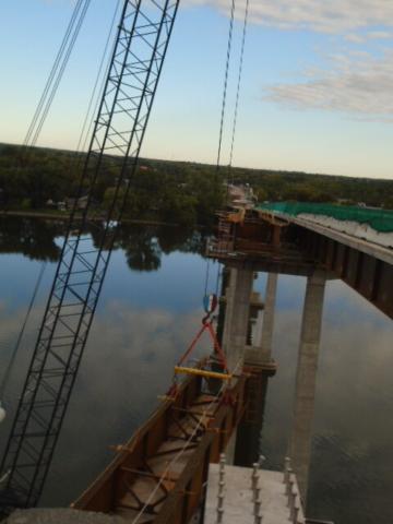 Starting the approach girder lift