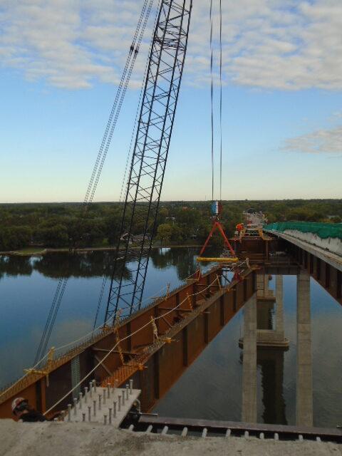 View north of approach girder lift