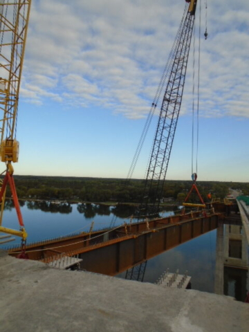 Approach girder being moved into place