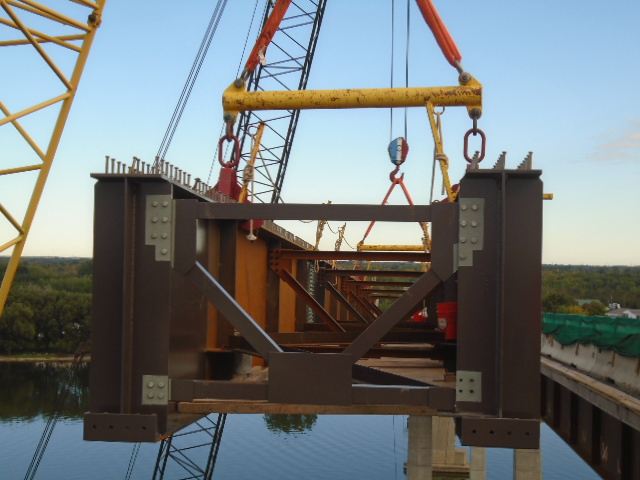 View inside the approach girder as it is being lowered