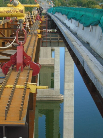 View between existing girders and the new girders being installed