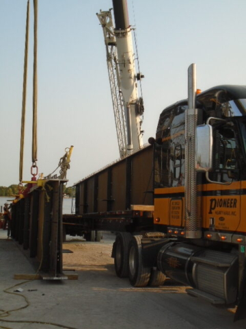 Both pieces of the approach girder during offloading