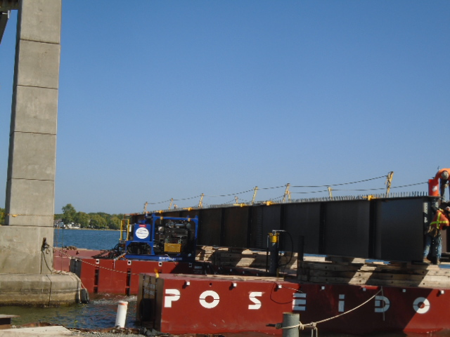 Second approach girder on the barge being prepared for installation