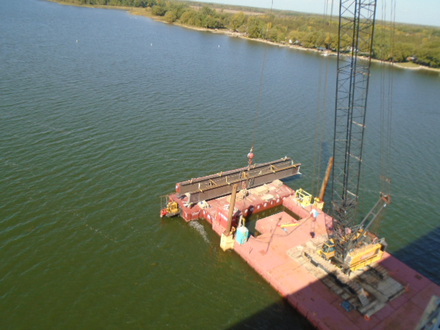 Top view of the second haunch girder on the barge