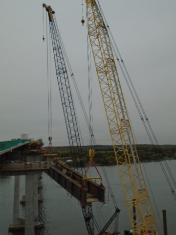 Haunch girder being lifted to pier 6