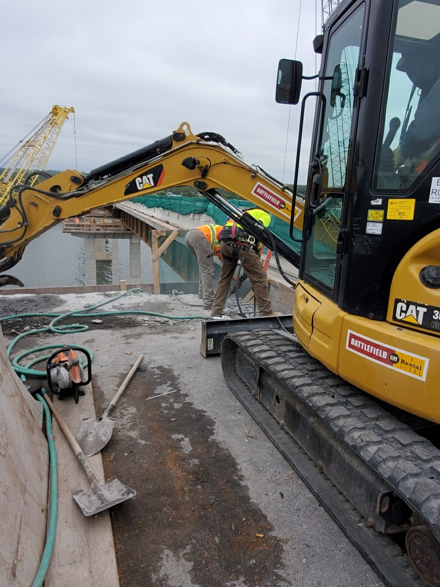 Concrete chipping on pier 8