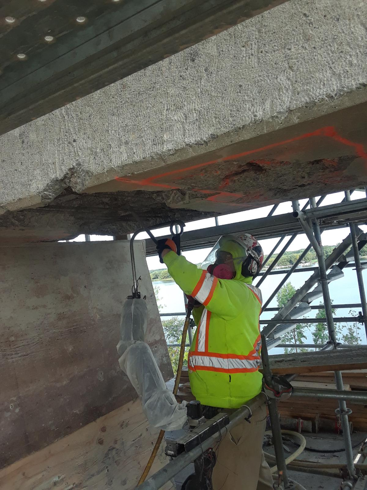 Concrete chipping on pier 14