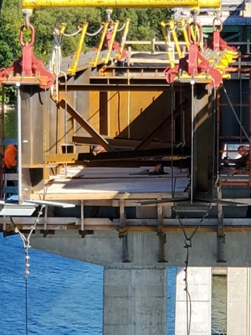Close-up of the new girder being installed