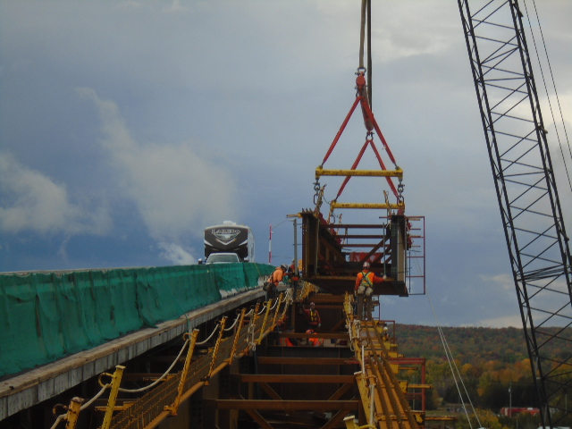 Moving the Drop-In girder into place