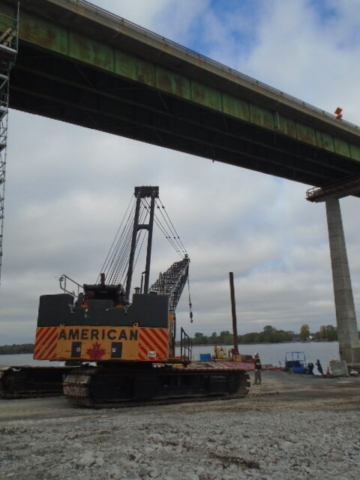 200 ton crane being removed under the bridge