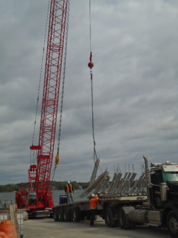 Expanded view of the brackets being offloaded by the 110 ton crane