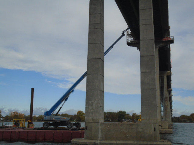 Genie lift to access existing girders for repairs