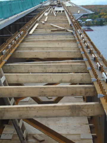 Close-up of the deck formwork installation