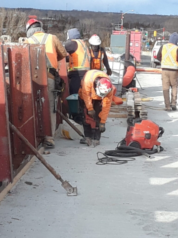 Installing the barrier wall formwork