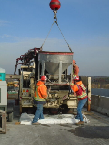 Offloading concrete from the hopper into the pump truck