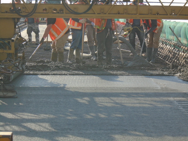Close-up of the newly placed concrete
