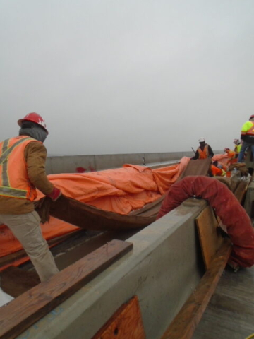 Burlap for curing being placed on the newly placed concrete