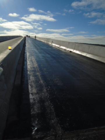Bridge deck after tack coat primer application