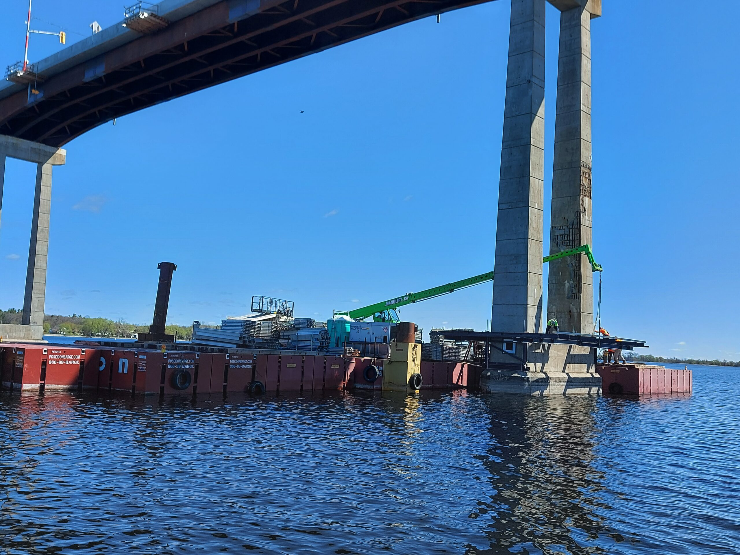 Expanded view of the erection of scaffolding on pier 10