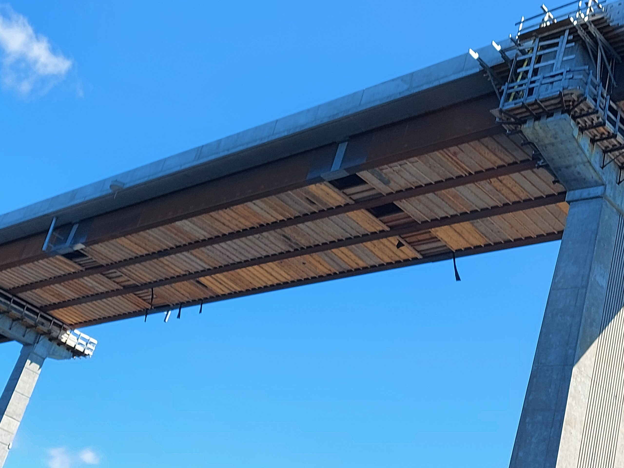 View from underneath of false decking  between piers 9 and 10