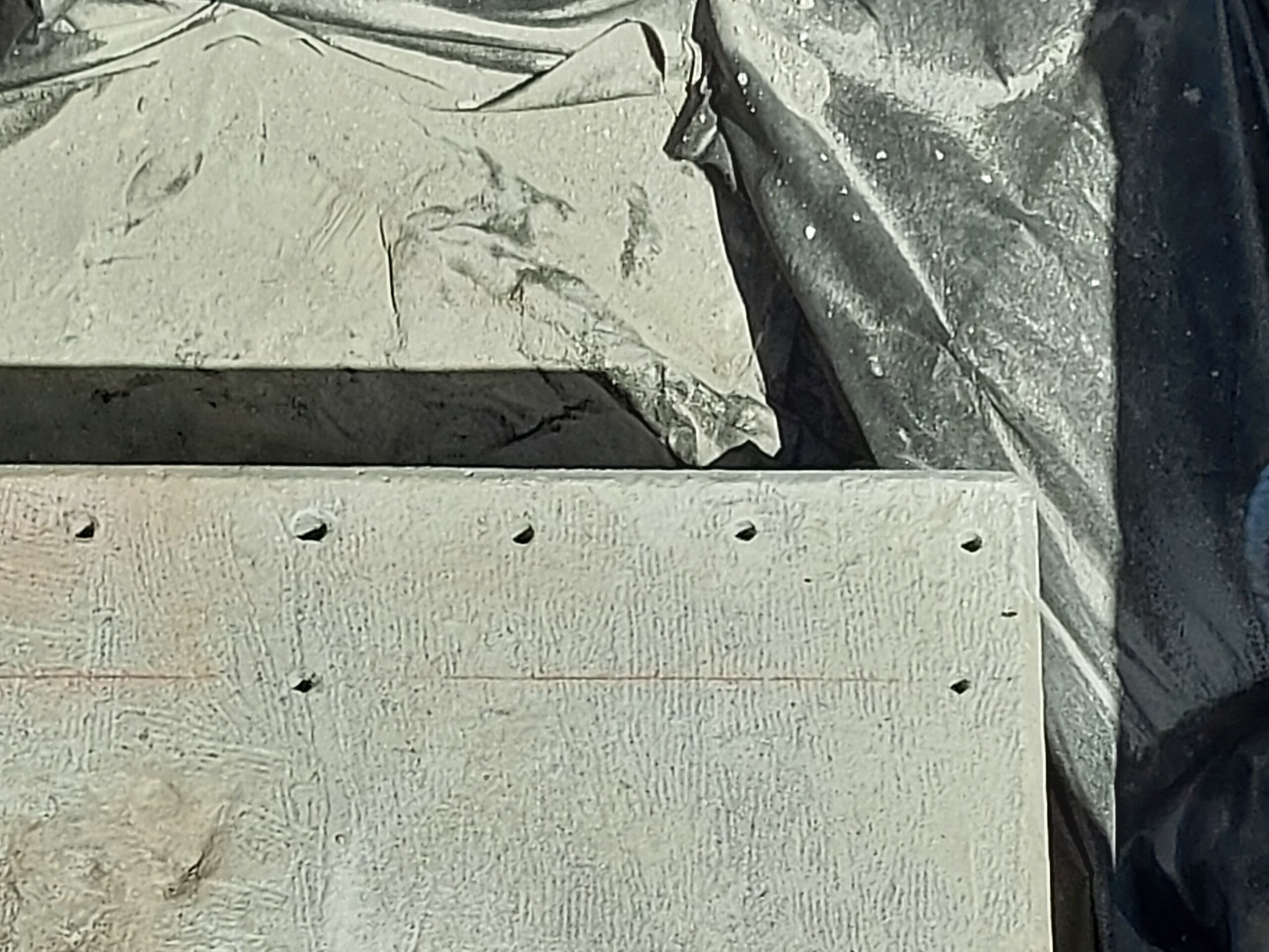 Close-up of drilled dowel holes