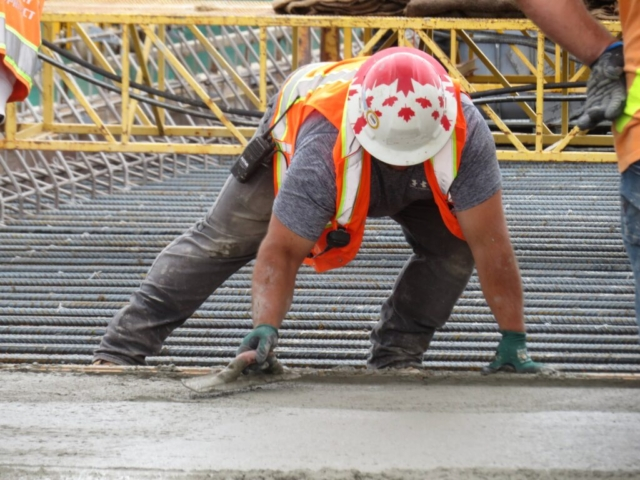 Troweling the newly placed concrete